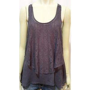 Daytrip Size Large Charcoal Mesh and Lace Tank